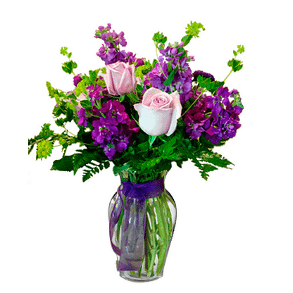 Flower arrangement for all occasions with roses, mathiola, viburnum and greenery in a garden vase