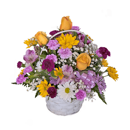 Flower arrangement for All Occasions with roses, mini carnations, alstroemeria and more arranged in a handled basket
