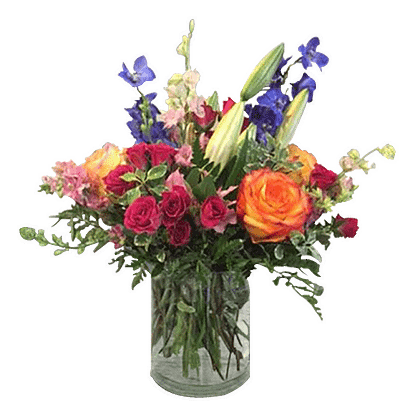 Flower arrangement for All Occasions with roses, delphinium, spray roses, and more arranged in a cylinder vase