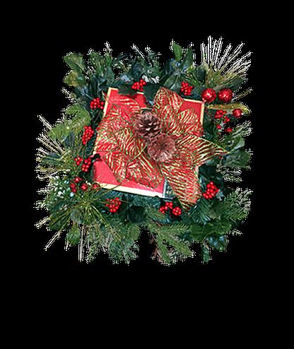 Christmas door decor with permanent evergreens, pine cones, miniature stem ornament balls, berries and ribbon