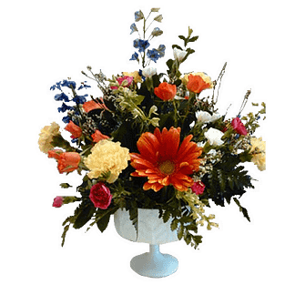 Flower arrangement for All Occasions with gerberas, carnations, spray roses and more in a compote