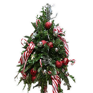 Tabletop Christmas tree with evergreens, boxwood, ornaments, candy canes and candy cane ribbon