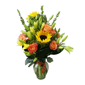 Flower arrangement for all occasions with sunflowers, roses, asiatic lilies and greenery in a glass vase with ribbon
