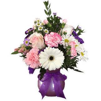 Flower arrangement for any occasion with roses, gerbera daisies, carnations and more arranged in a plastic utility vase with ribbon bow