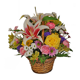 Flower arrangement for All Occasions with stargazer lilies, mini carnations, roses and more arranged in a handled basket