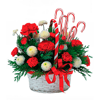 Christmas floral arrangement with button poms, carnations, evergreens and candy canes in a basket