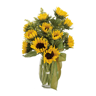 Flower arrangement for All Occasions with solidago and sunflowers in a glass vase
