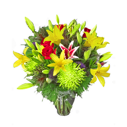 Flower arrangement for All Occasions with daylilies, starfighter lilies, fuji mums, roses and more arranged in a garden vase